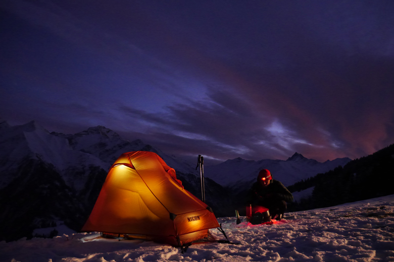 The Nigor PioPio Solo on a mountain top in Val Lumnezia, Switzerland. And No... It's not a winter tent!