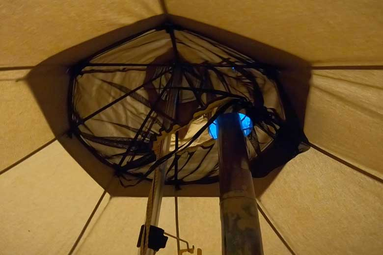 The heater throughput works fine with a double heater pipe. Keep in mind that the mosquito nets do not touch the pipe.