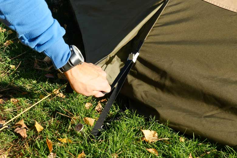 The Tentipi Safir 7 CP has good tensioners for the tent canvas and the ground sail.