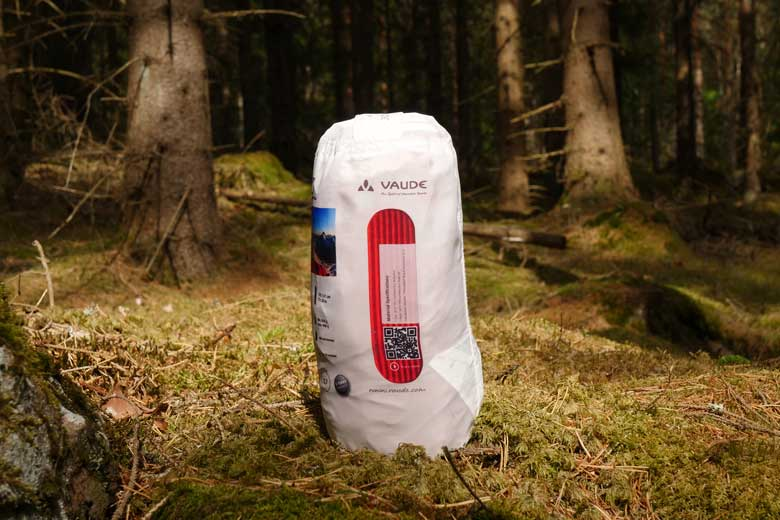 Packed, the Vaude Performance 7 has a modest Pakmaat: 9 x 20 cm.