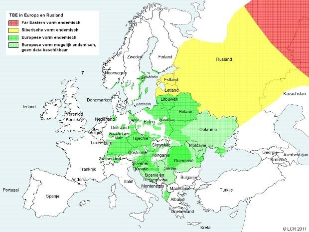 De verspreiding van teken in Europa.