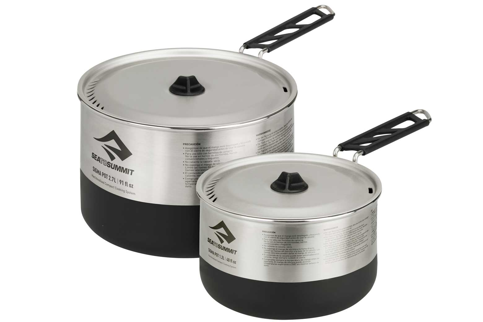 The Sea to Summit Sigma Cookset consists of two Sigma Pots; a 1.2 liters and a 2.7 liters.