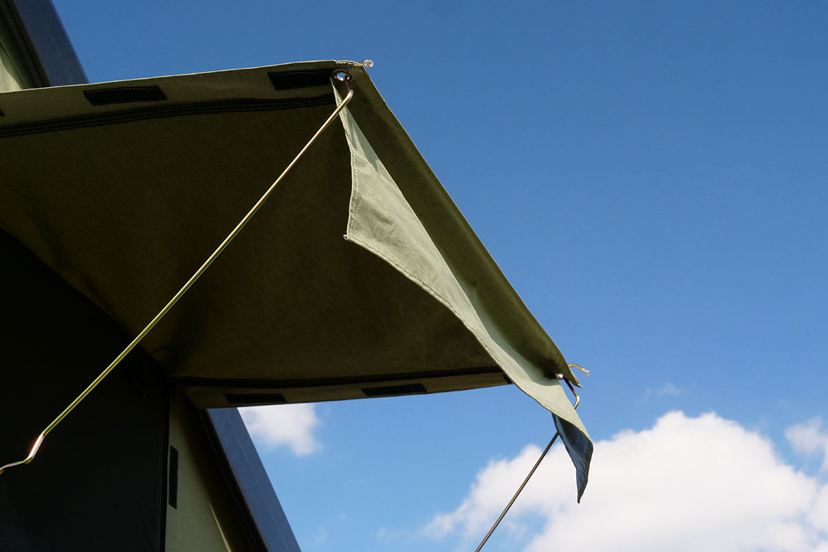 The awnings proved shelter from rain and sun.