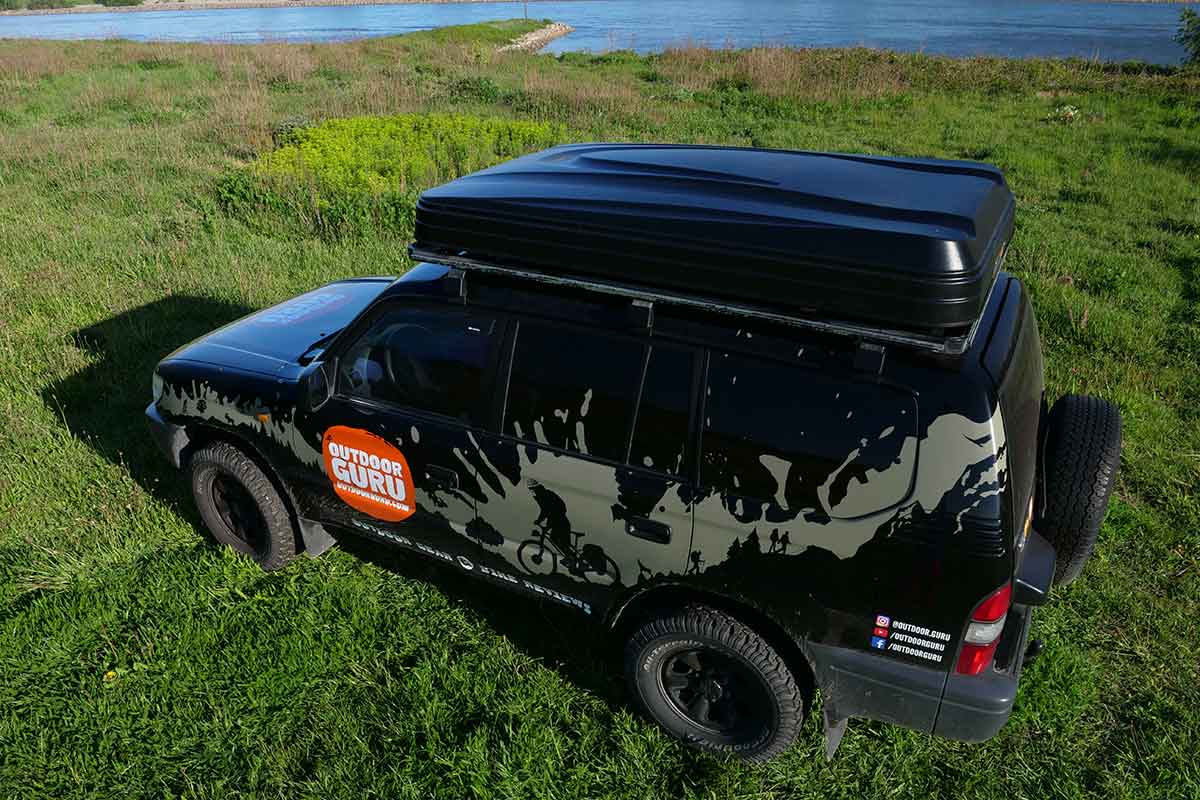 The Hopper is a hard shell roof top tent.