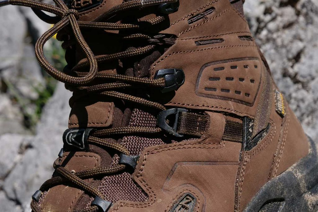 Some eyelets on the Keen Karraig Mid WP are made from plastic.