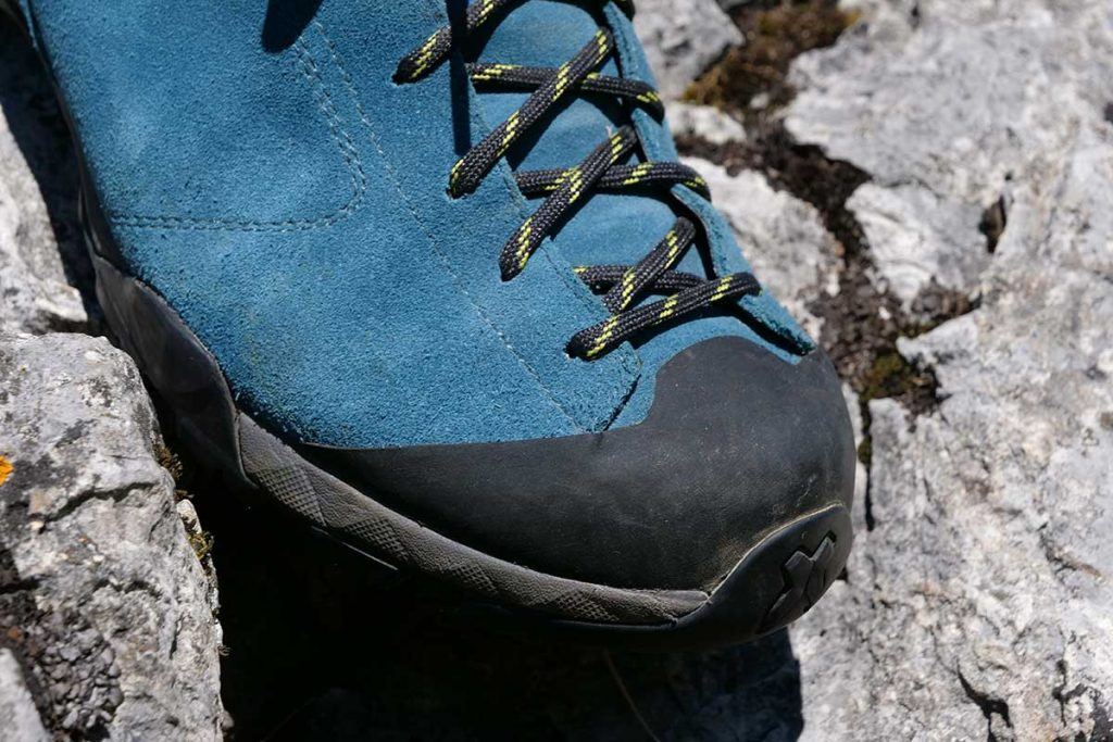 Only the nose of the Scarpa Mojito Hike GTX is covered with rubber.