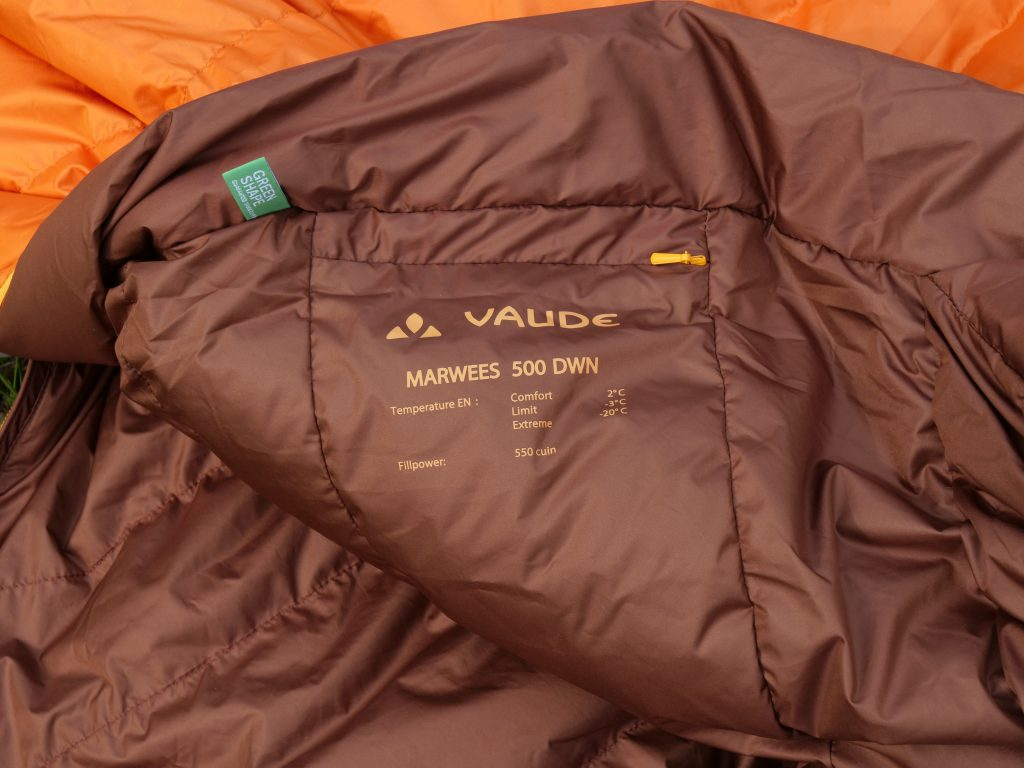 The Vaude Marwees 500 DWN comfort temperature is a bit too positive.
