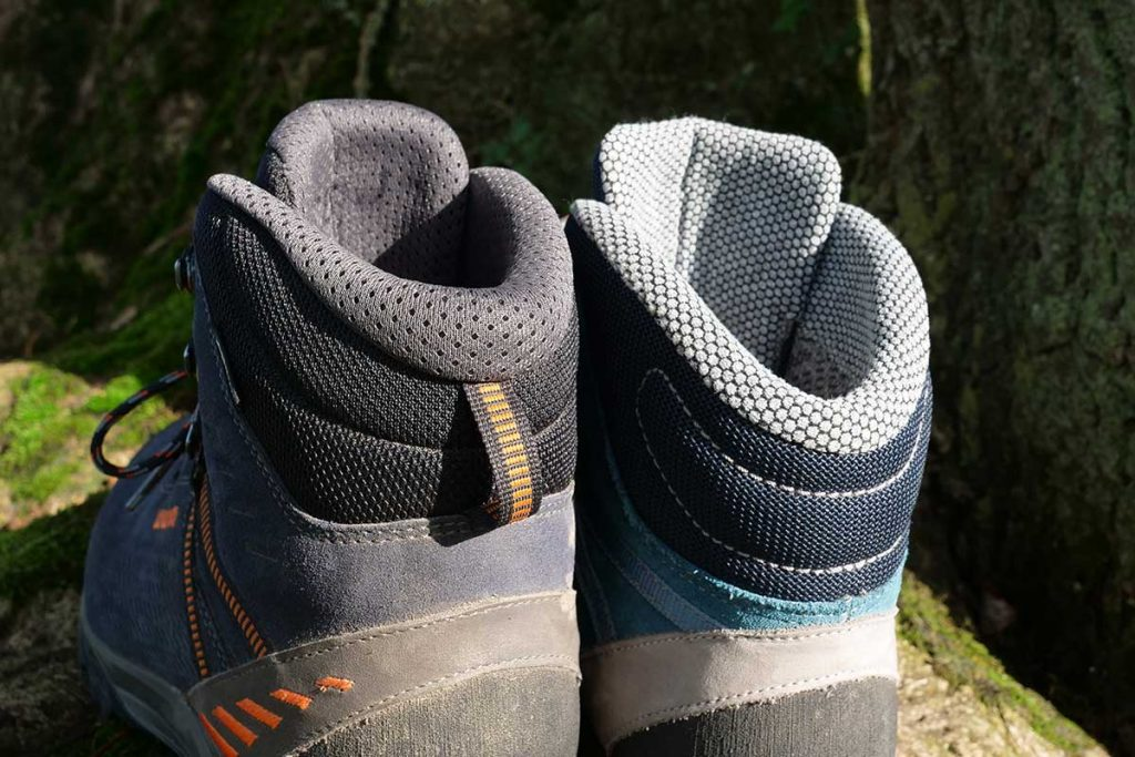 The male version has a draw loop on the heel collar.