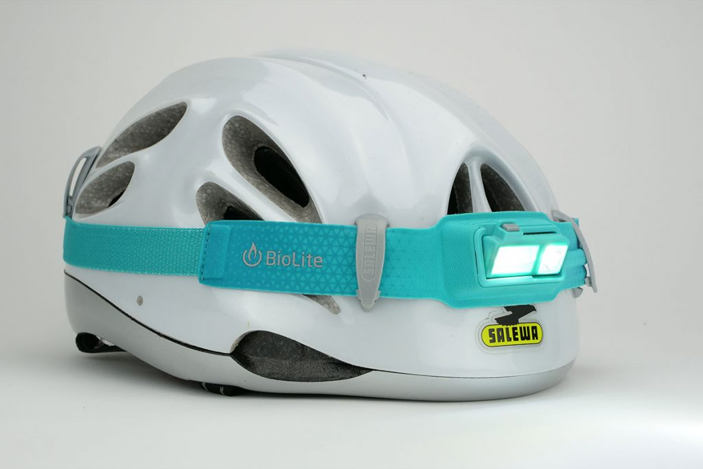 The BioLite Headlamp 330 works well in combination with bike- and climbing helmets.