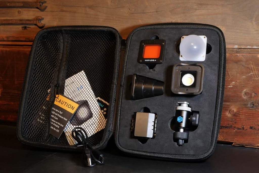 The Lume Cube 2.0 Portable Lighting Kit Plus is fully loaded.
