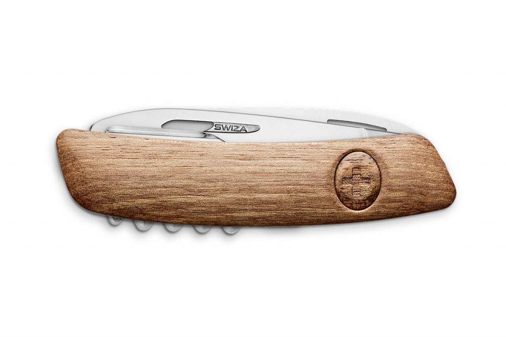 The Swiza TT03 Tick Tool in walnut wood closed.