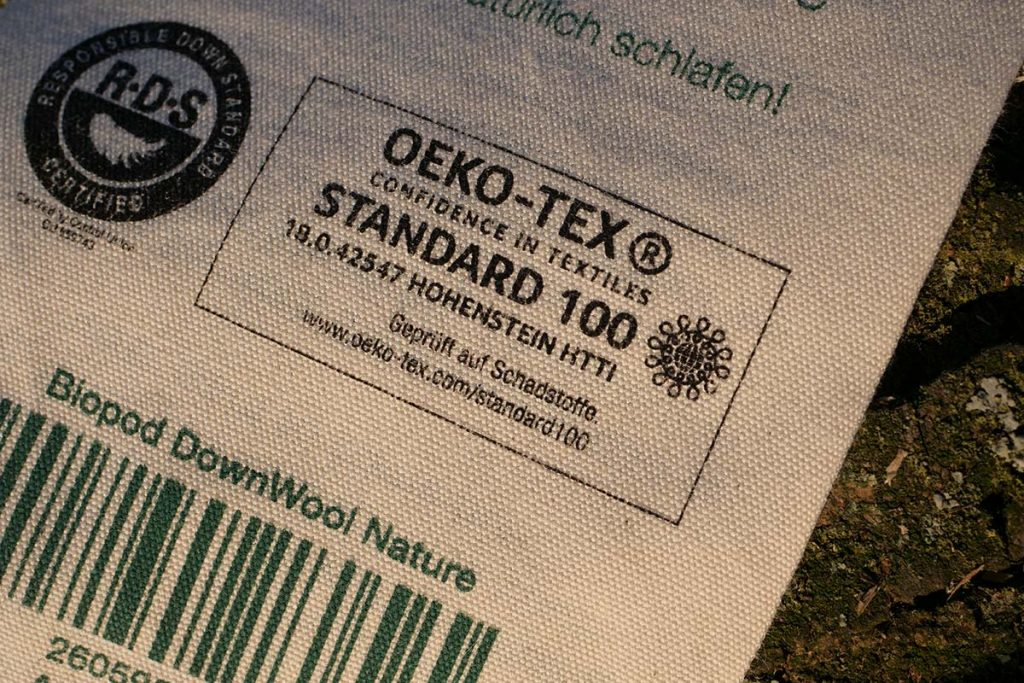 The Grüezi bag Biopod DownWool Nature is OEKO-TEX certified.