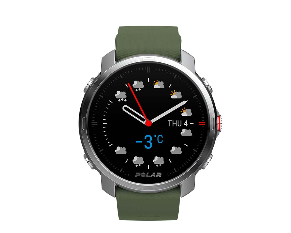 The Polar Grid X with a 'analog' watch face and Komoot weather forecast.