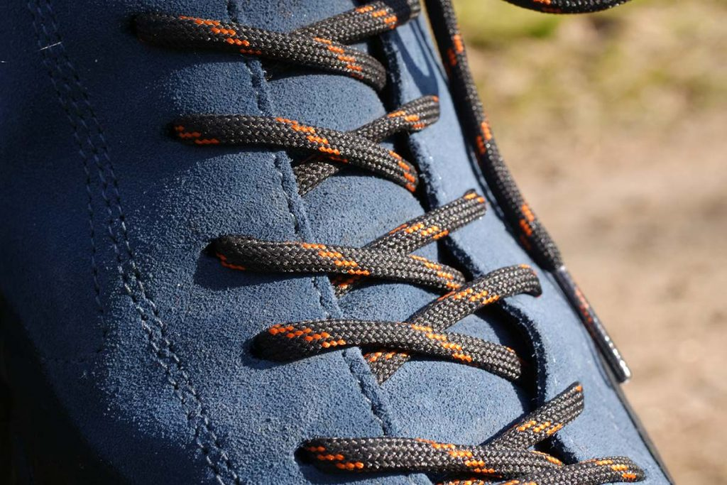 The eyelets on the Scarpa Mojito Trail GTX are placed slightly asymmetrically.