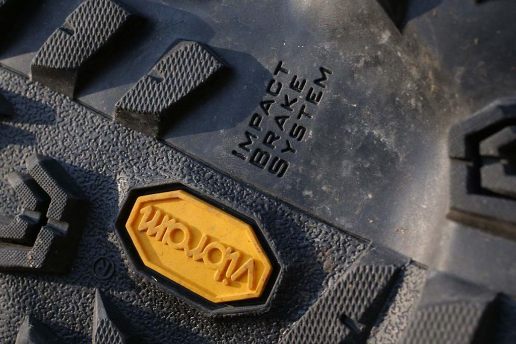 The Vibram outsole has a very coarse profile.
