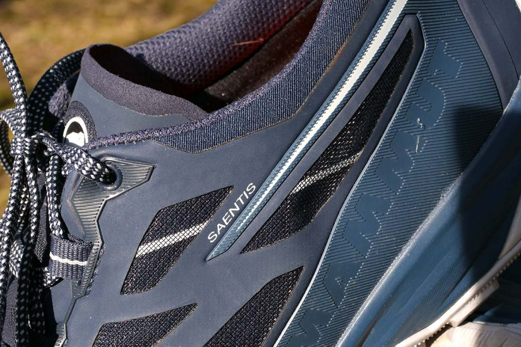 Around the ankles Mammut uses a combination of dense synthetic panels and mesh.