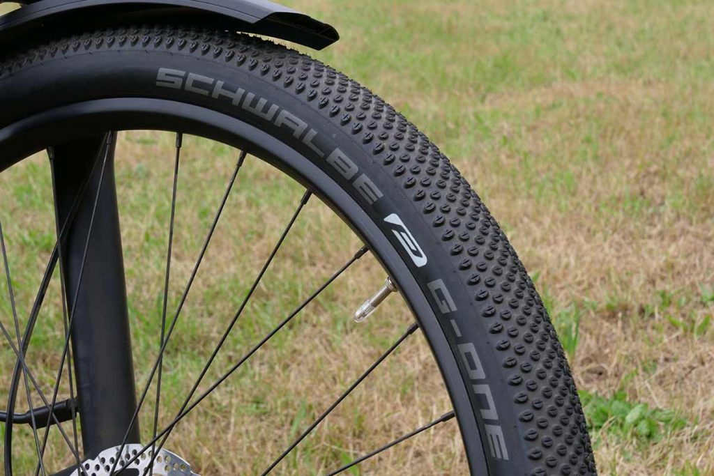 The Schwalbe G-One ballon tires have a distinctive pattern.
