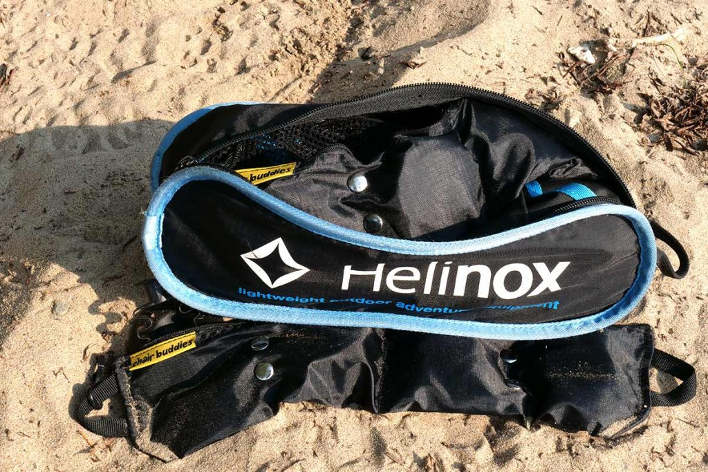 The Chair Buddies pouch fits in the Helinox stuff bag.