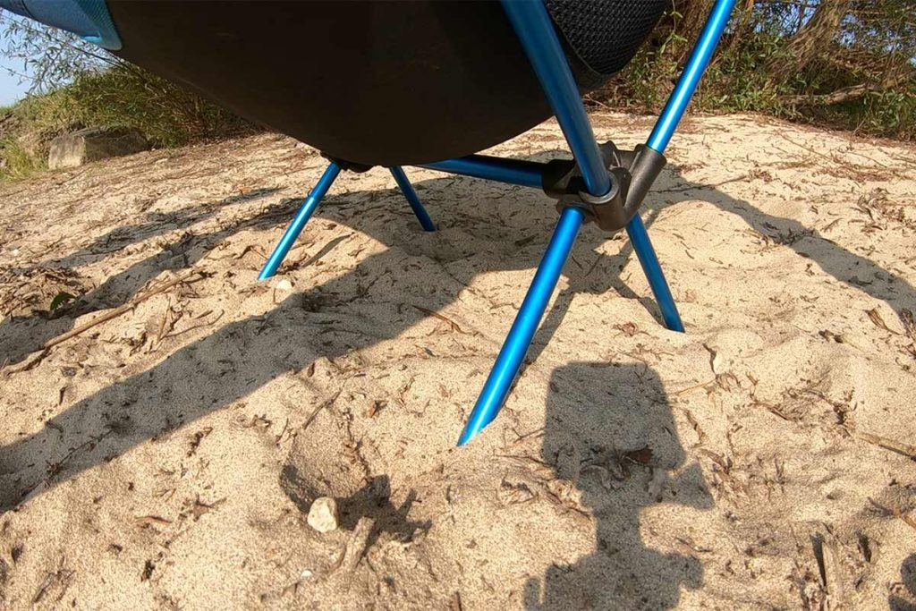 The problem with a lot of camping chairs: de feet sink in ground easely.