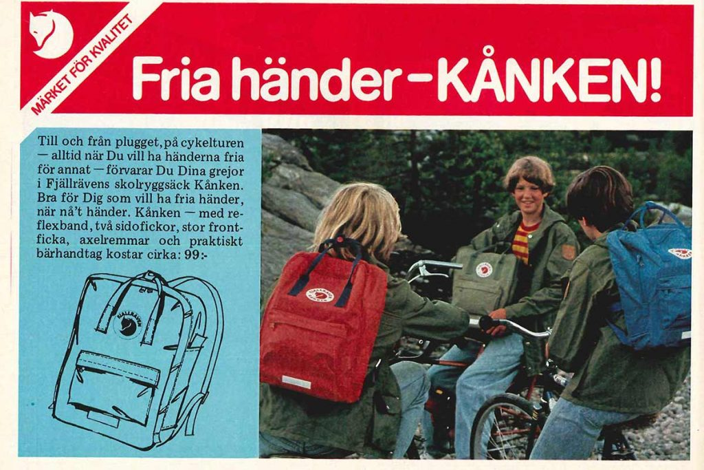 The Fjällräven Kånken backpack for school use: with reflective material.