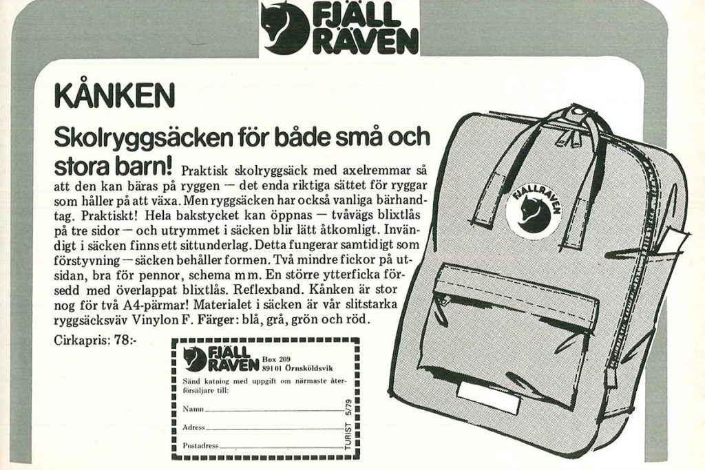 One of the first ads of the Fjällräven Kånken backpack. Look at the price.