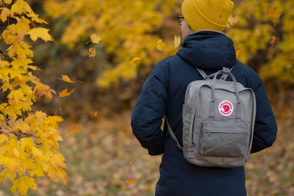 The Fjällräven Kånken Re-Wool backpack is more of an urban outdoor backpack.