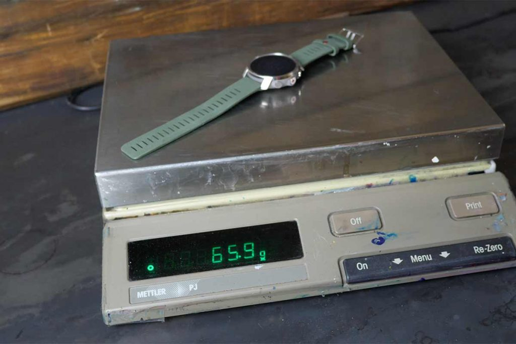 The Polar Grit X weighs 65,6 grams on my scale.