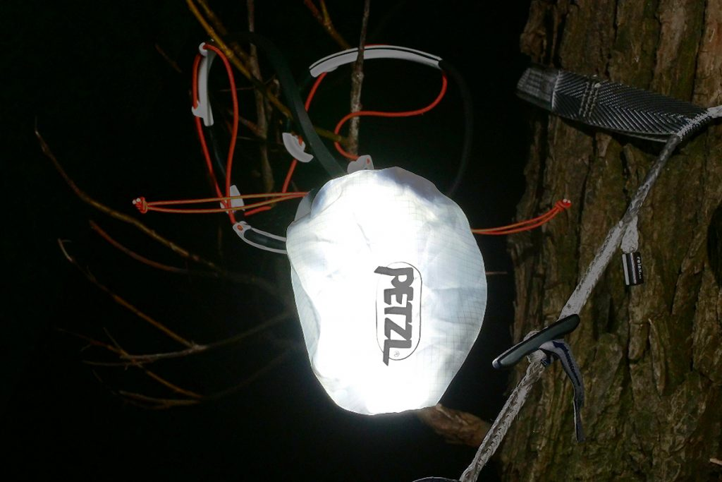 The Petzl Iko Core pouch doubles as a 'table' lamp.