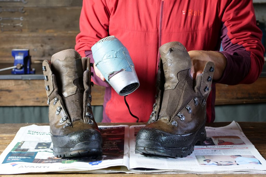Don't use a hair dryer, blow torch or any heat at all to dry your shoes.