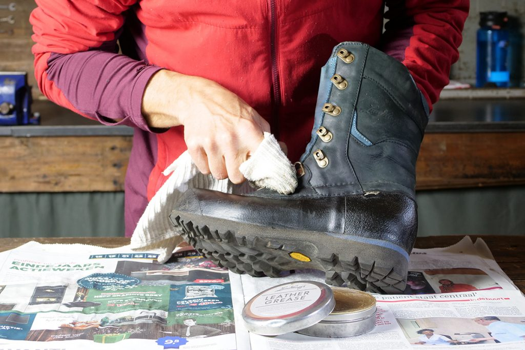 Grease or wax... it depends a bit on the shoe and the brand.
