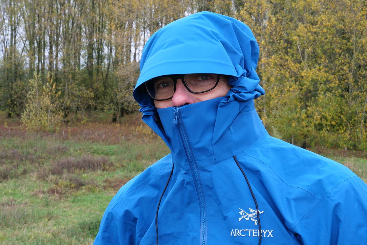 The collar and hood construction on the Arc'teryx Beta AR Jacket  provide a lot of protection.