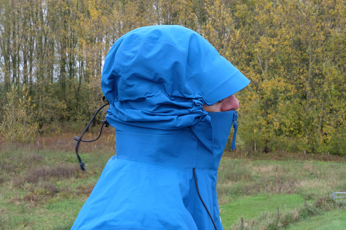 The Arc'teryx Beta AR Jacket hood excels in adjustment options and offers plenty of space for a helmet.