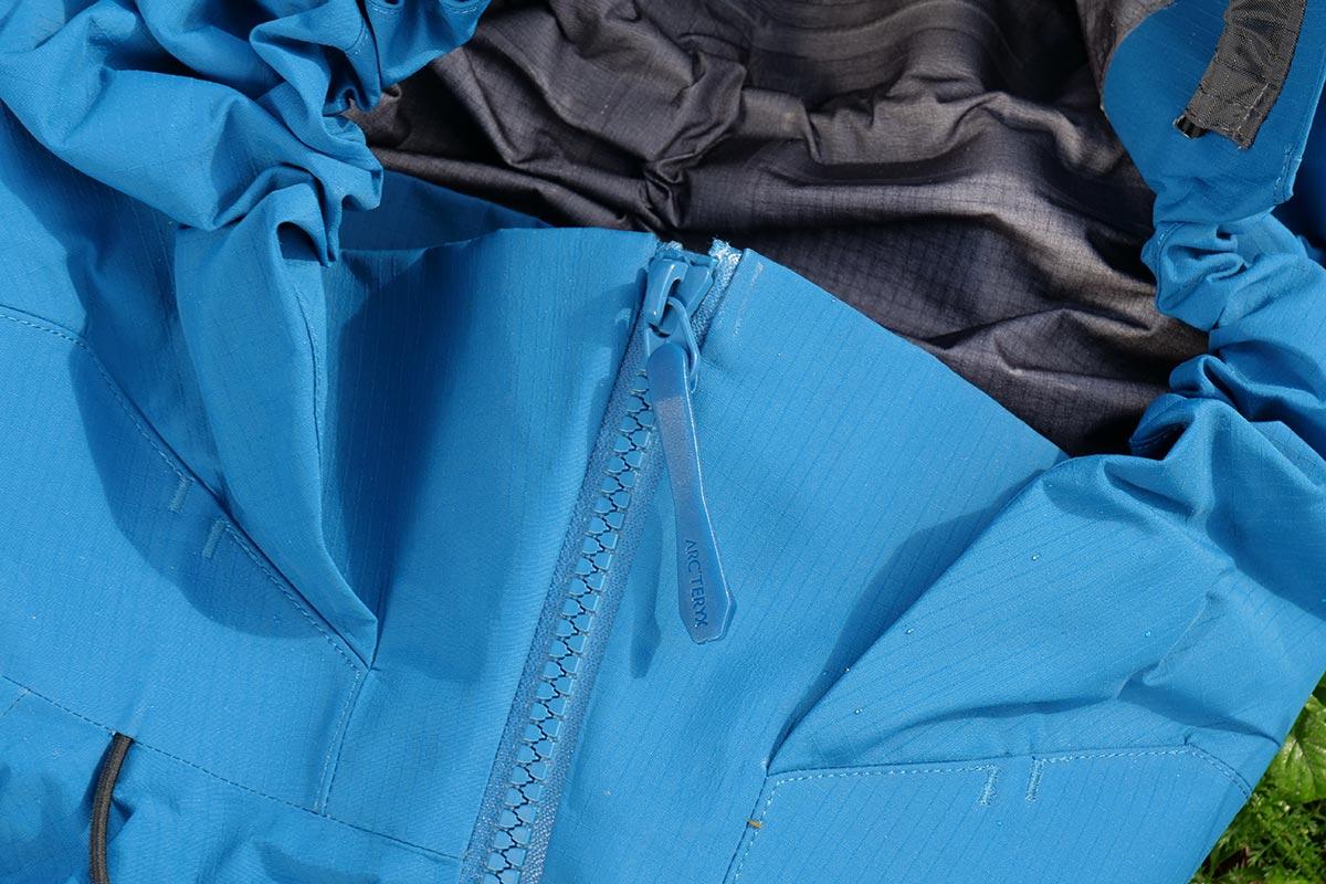 The Arc'teryx Beta AR Jacket main zipper misses a zipper garage...pity.