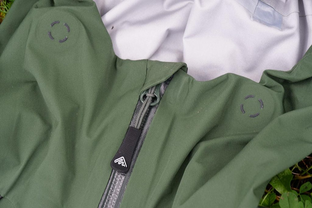 The front zipper on the Cortazu Hard Shell All Season Jacket is stored in a zipper garage.