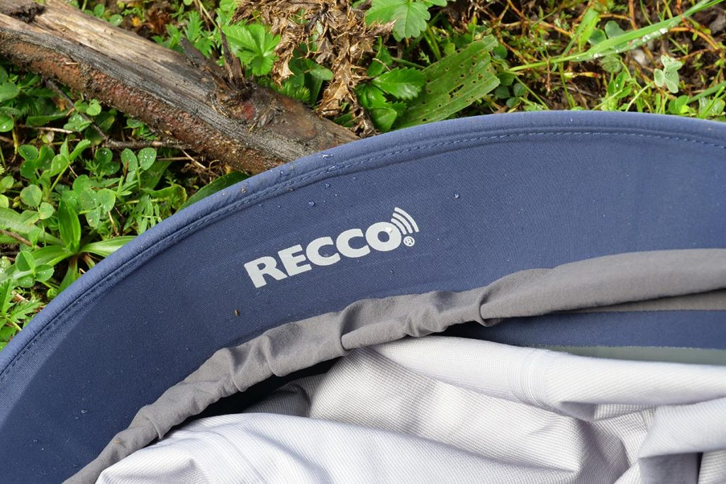 A Recco reflector is incorporated in the Haglöfs Roc Spire Jacket.