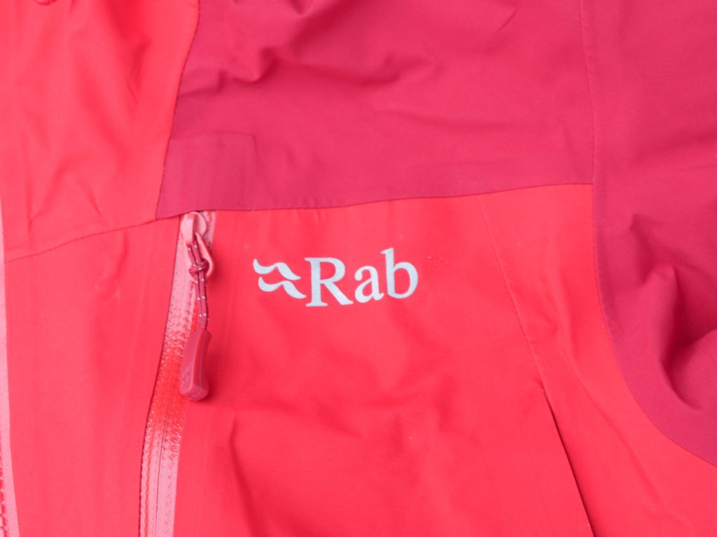 All zippers on the Rab Ladakh GTX Jacket are waterproof and have a large pull tab.