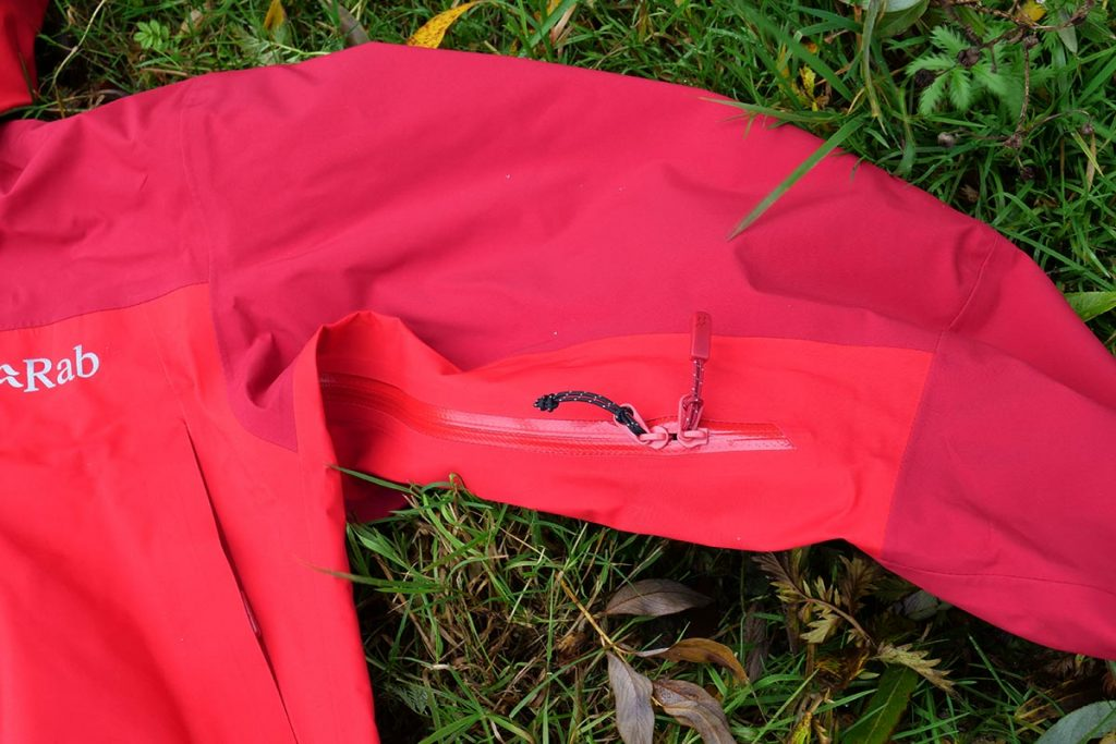 The Rab has large pitzips with two-way zipper.